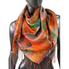 На фото 1 - Двухсторонний разноцветный платок батик из хлопка