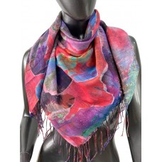 На фото 1 - Двухсторонний хлопковый платок батик, мультицвет