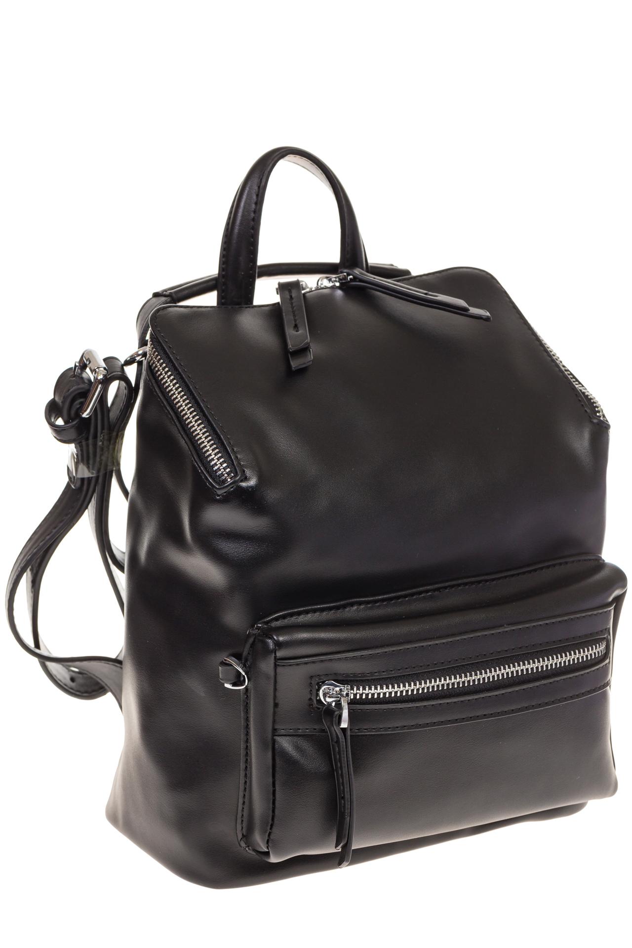 На фото 1 - Мягкий рюкзак-трансформер из эко-кожи черного цвета F1011