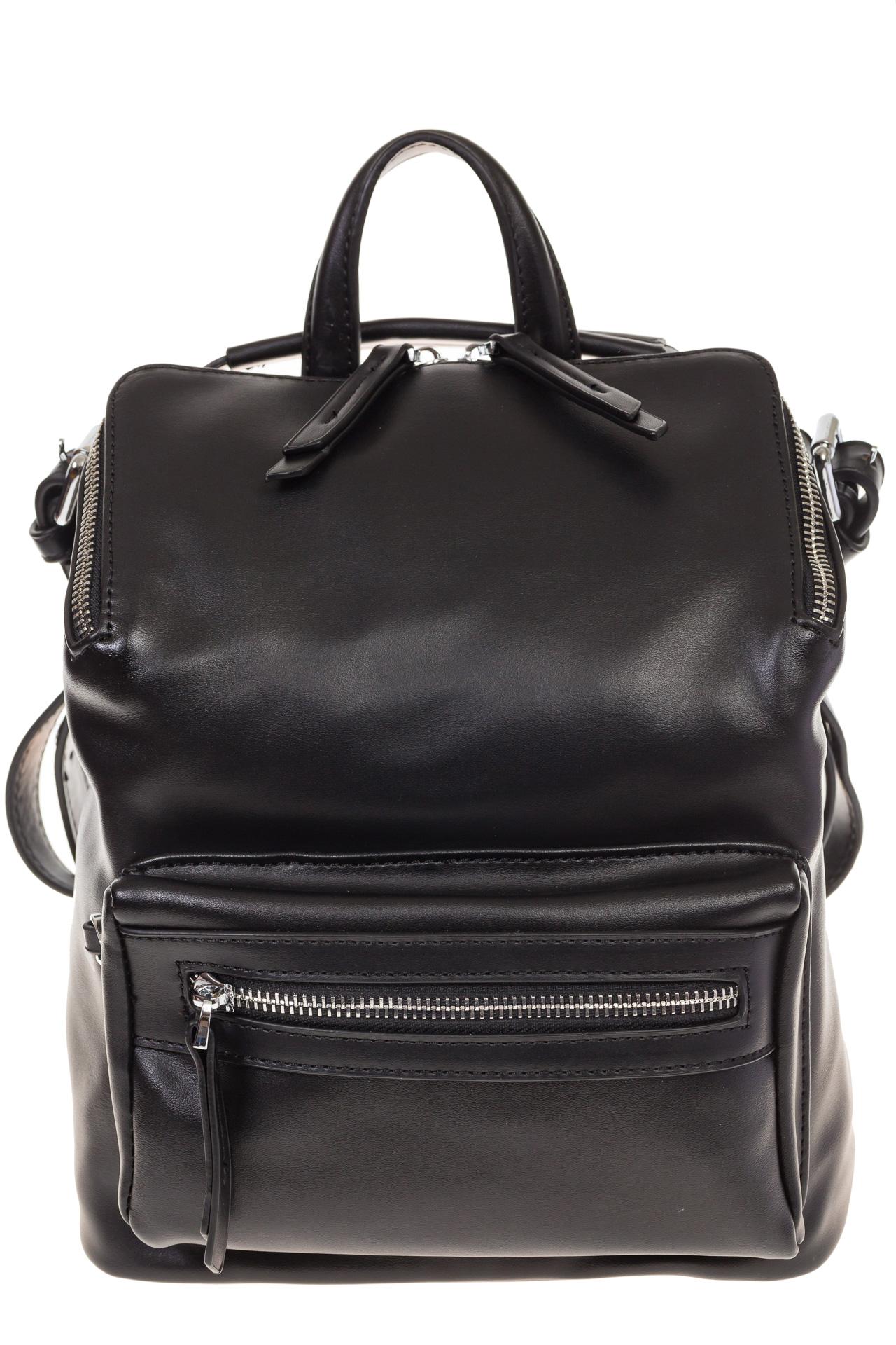На фото 2 - Мягкий рюкзак-трансформер из эко-кожи черного цвета F1011