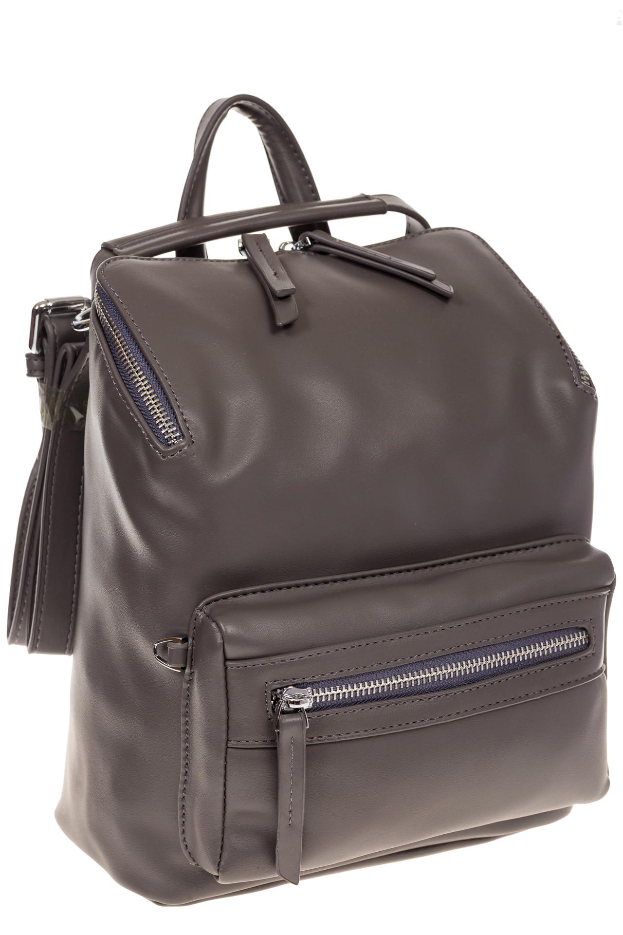 На фото 1 - Мягкий рюкзак-трансформер из эко-кожи серого цвета F1011