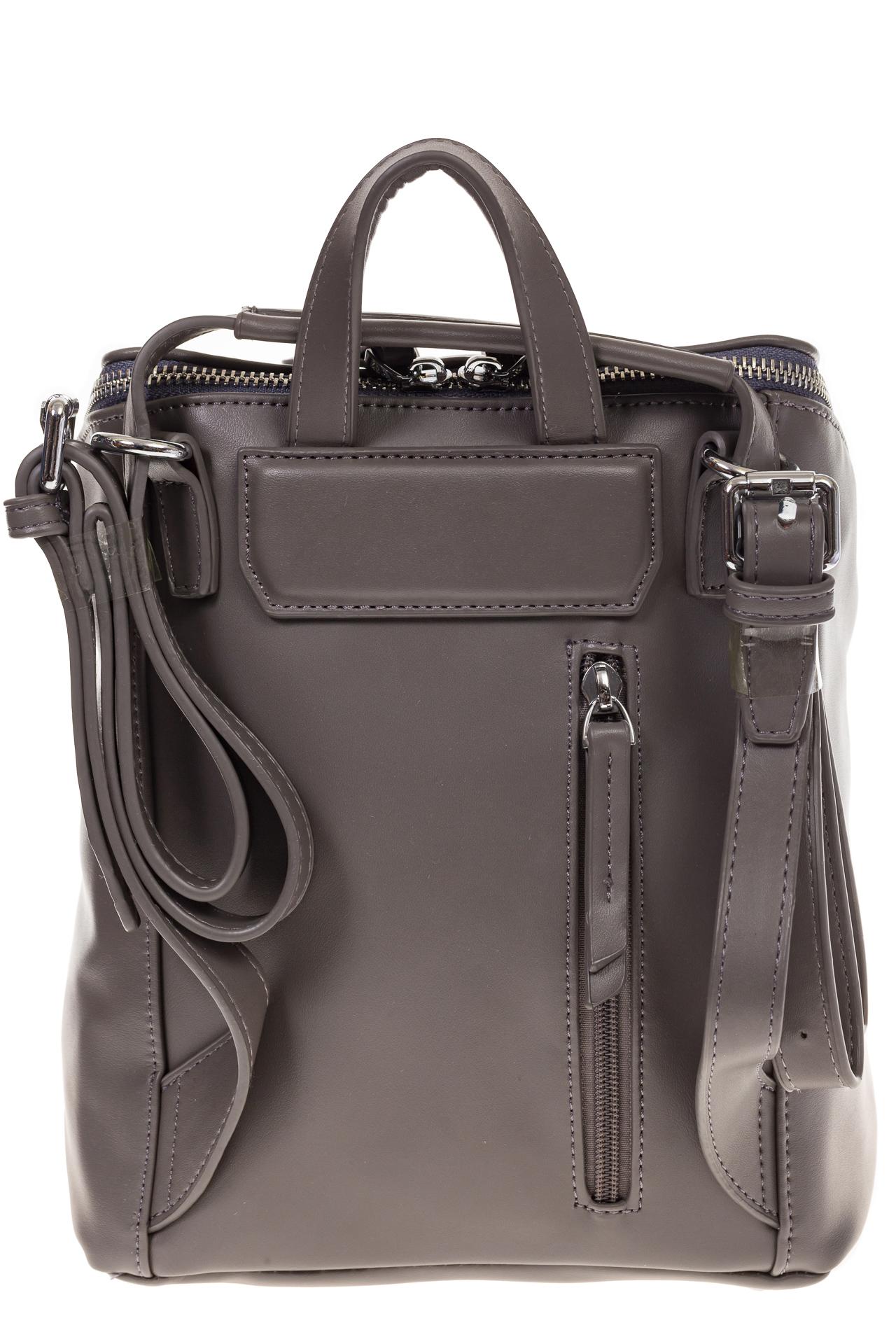 На фото 3 - Мягкий рюкзак-трансформер из эко-кожи серого цвета F1011