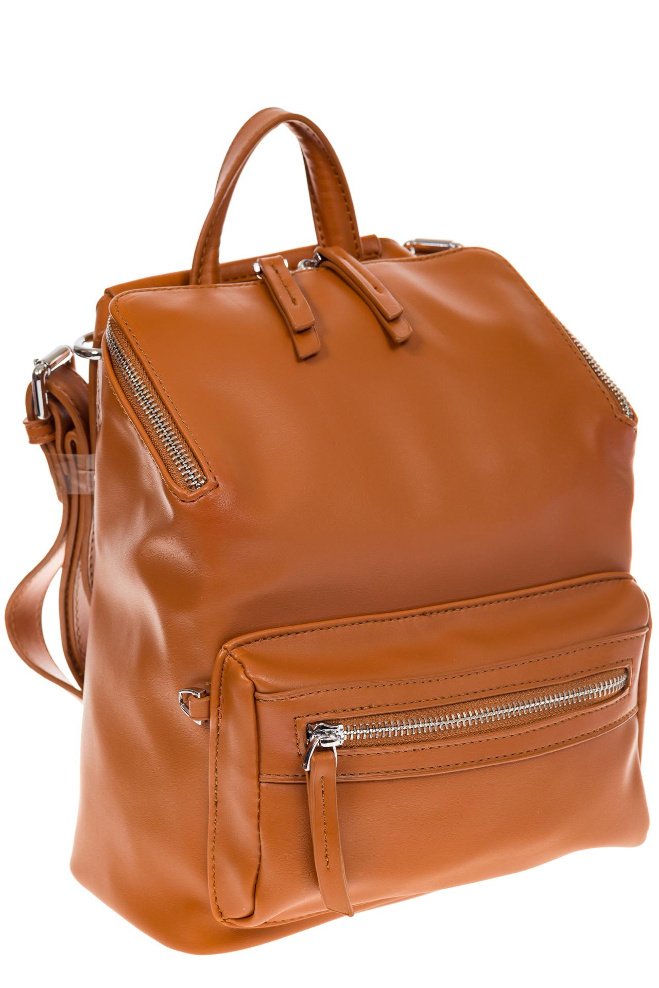На фото 1 - Мягкий рюкзак-трансформер из эко-кожи коричневого цвета F1011