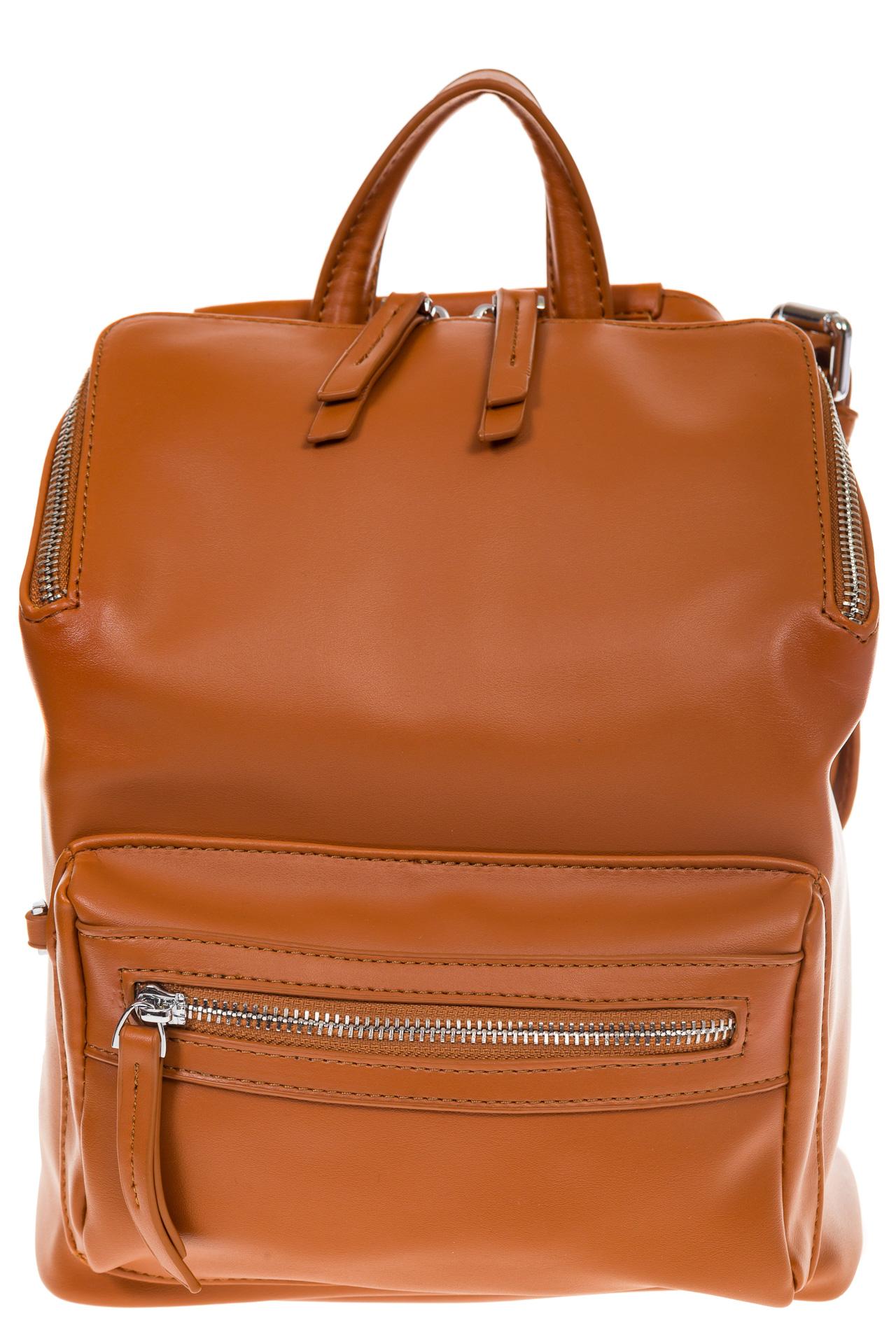 На фото 2 - Мягкий рюкзак-трансформер из эко-кожи коричневого цвета F1011