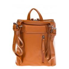 На фото 3 - Мягкий рюкзак-трансформер из эко-кожи коричневого цвета F1011