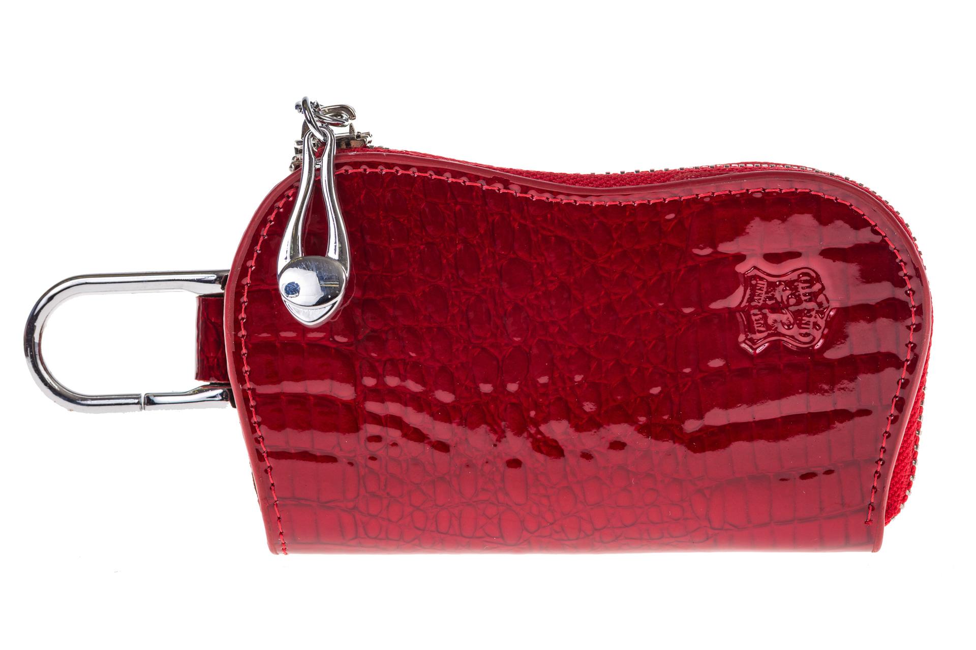 На фото 1 - Ключница из лакированной искусственной кожи, цвет красный