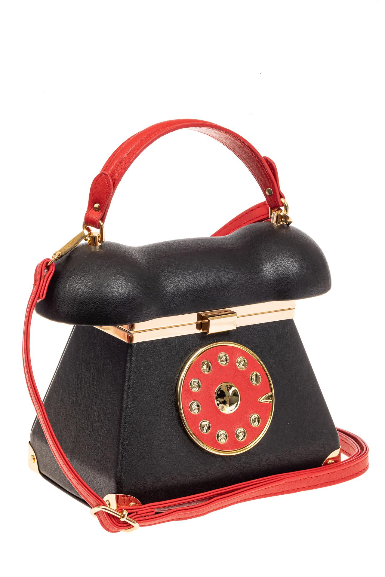 На фото 1 - Театральная сумочка из искусственной кожи, цвет черный