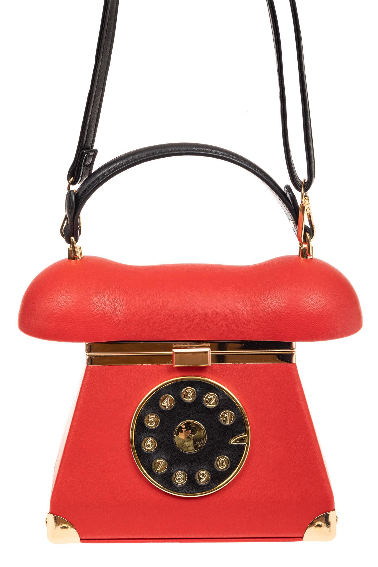 На фото 2 - Театральная сумочка из искусственной кожи, цвет красный