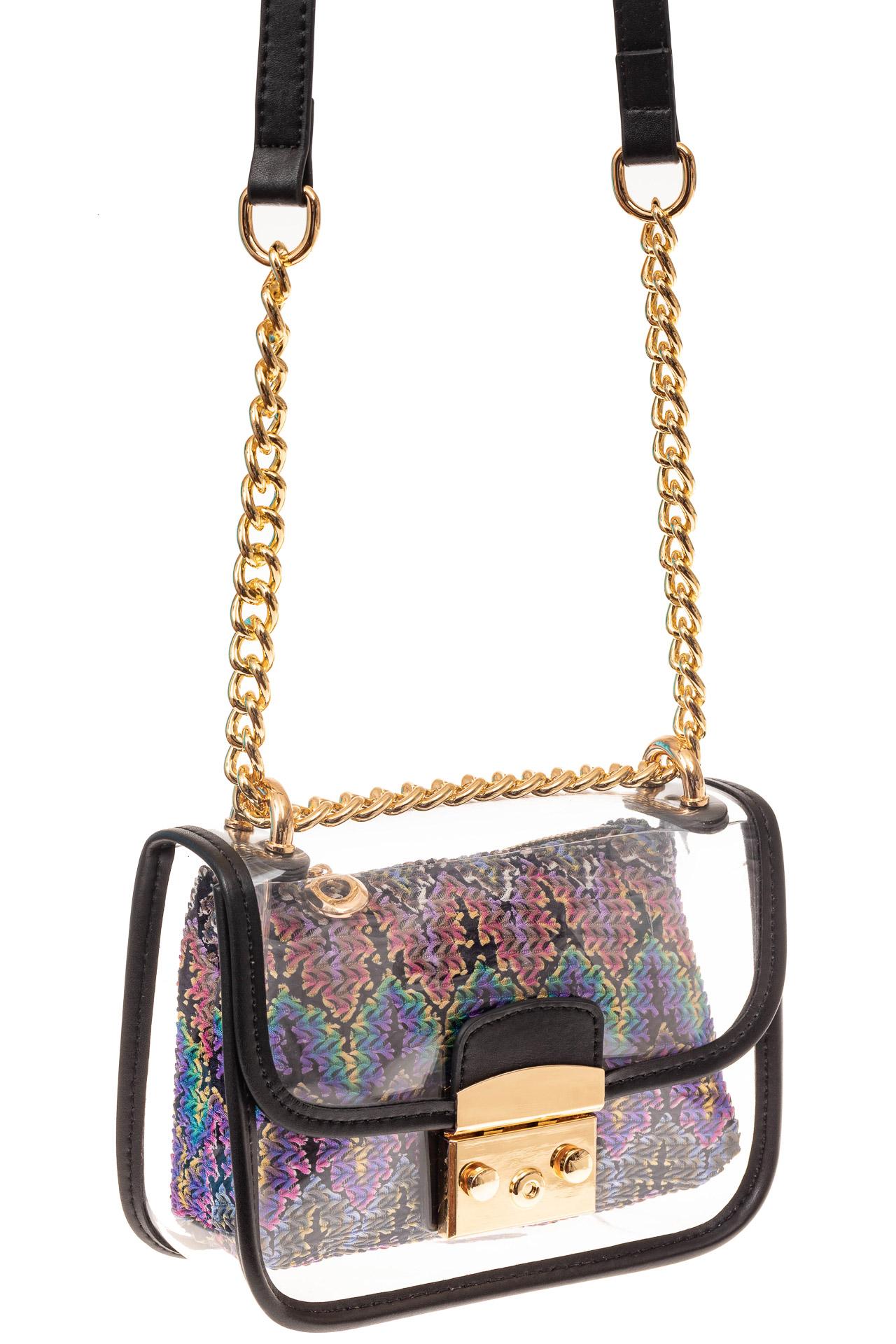 На фото 1 - Прозрачная сумочка с черной окантовкой
