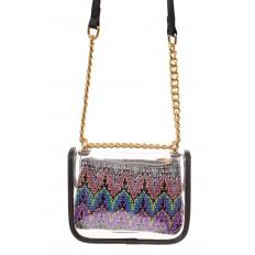 На фото 2 - Прозрачная сумочка с черной окантовкой