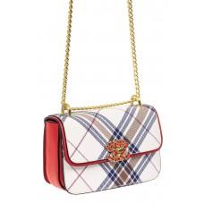 На фото 1 - Новинка: маленькая женская кросс-боди сумка из экокожи в клетку, красная с белым