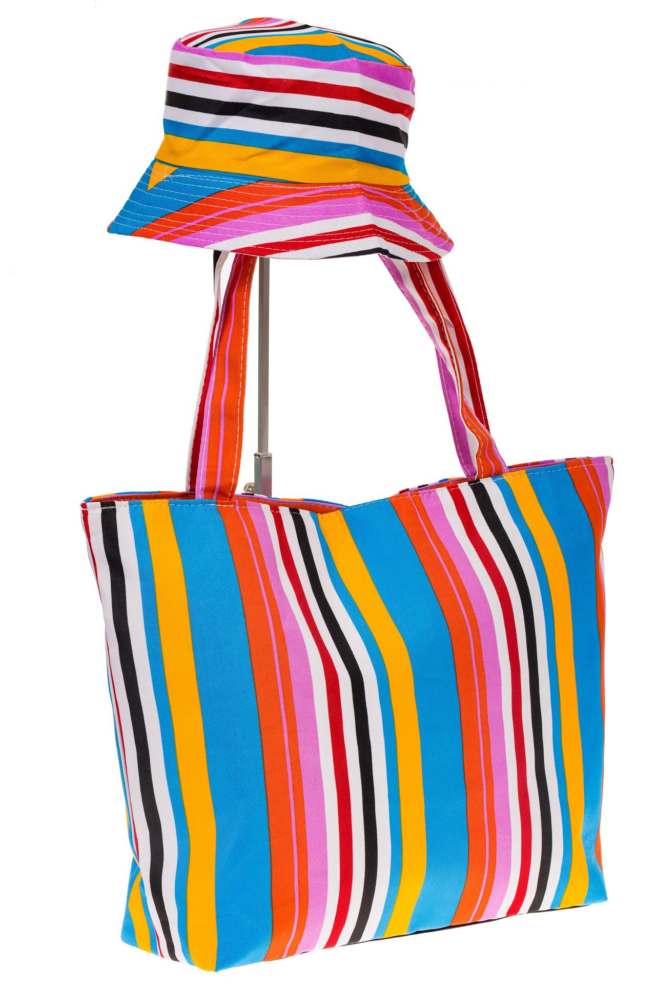 на фото Пляжная сумка из текстиля в вертикальную полоску F63TM5