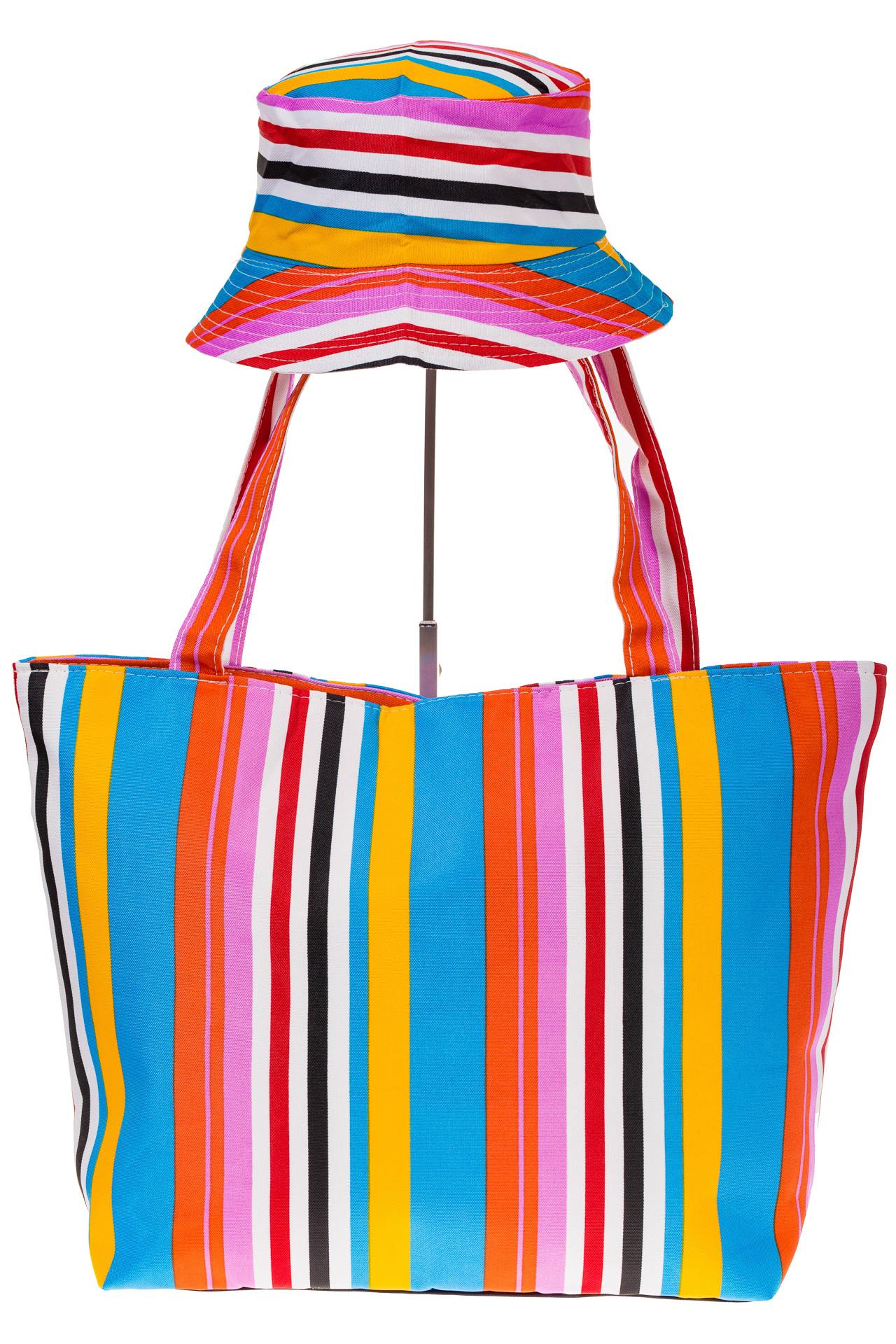 На фото 2 - Пляжная сумка из текстиля в вертикальную полоску F63TM5