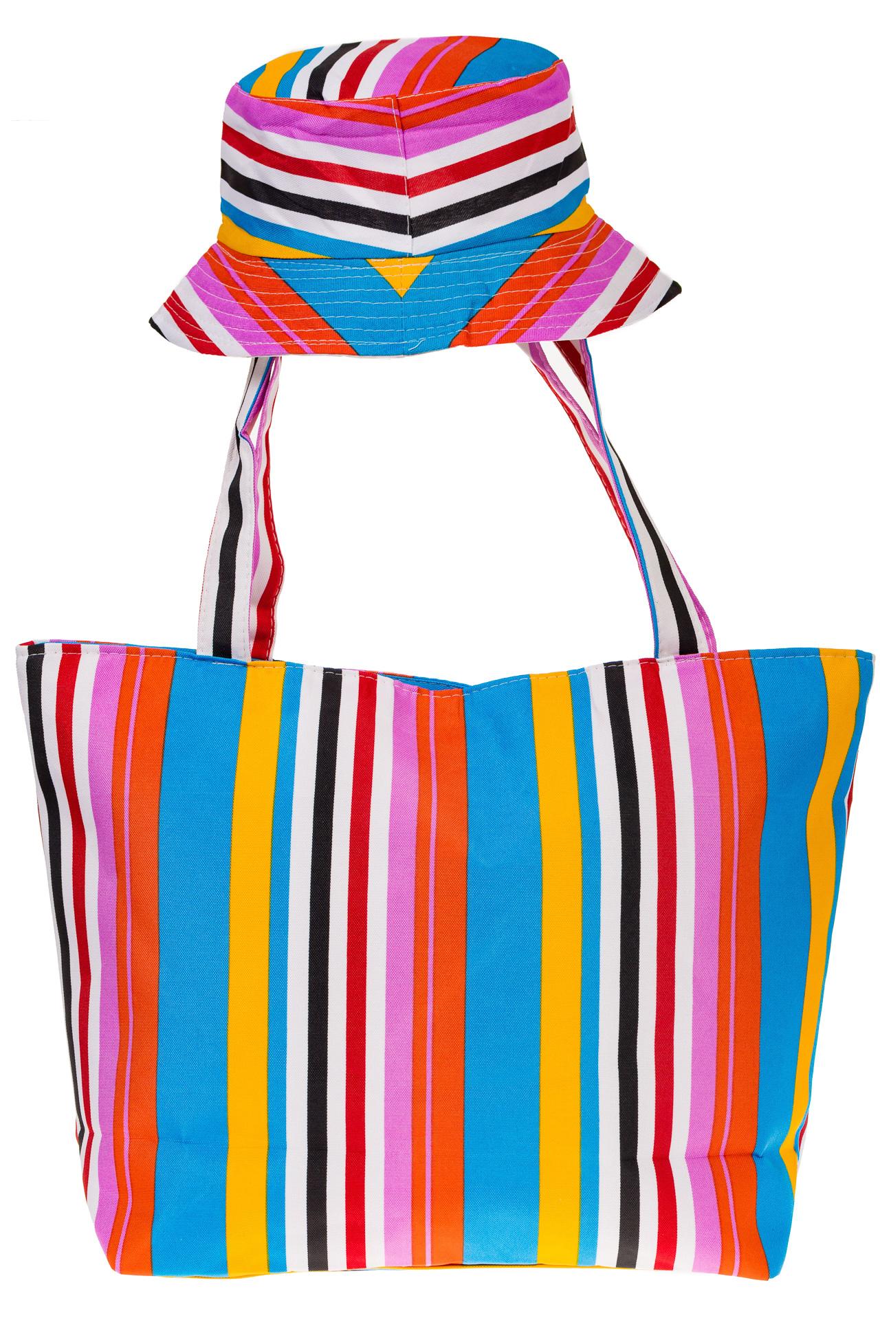 На фото 3 - Пляжная сумка из текстиля в вертикальную полоску F63TM5