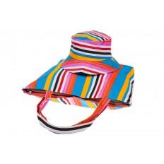 На фото 4 - Пляжная сумка из текстиля в вертикальную полоску F63TM5