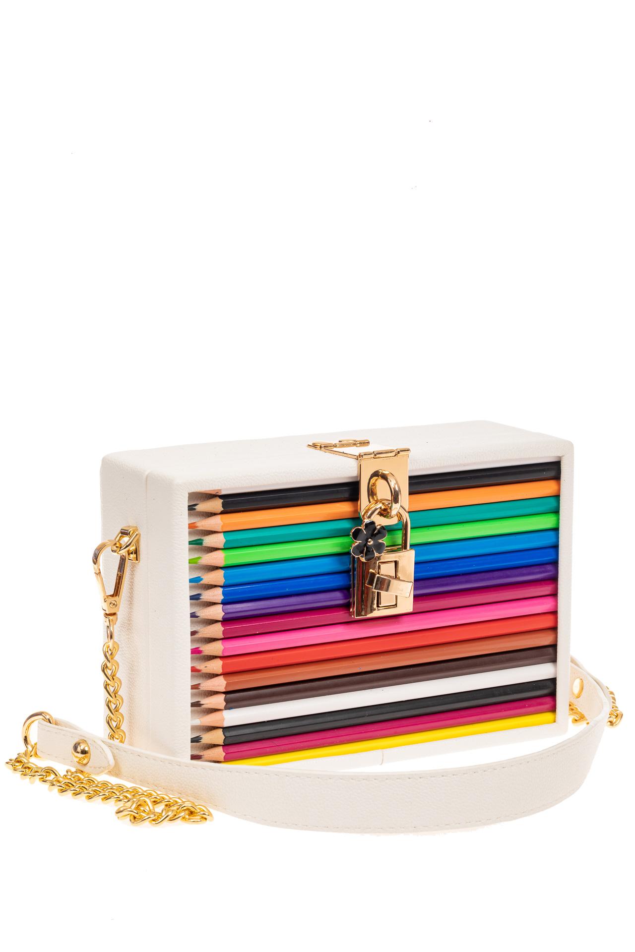 На фото 1 - Каркасная театральная сумочка из искусственной кожи с настоящими цветными карандашами, цвет белый