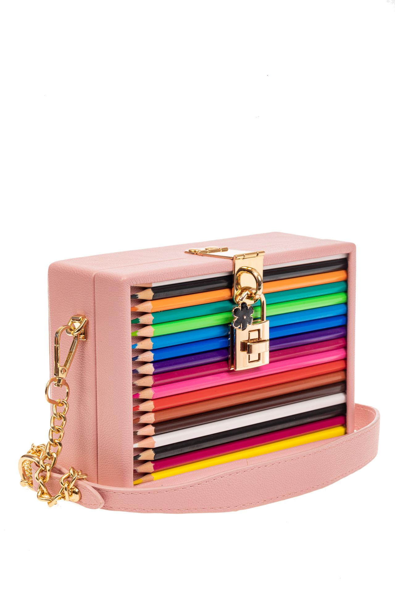 На фото 1 - Каркасная театральная сумочка из искусственной кожи, цвет розовый