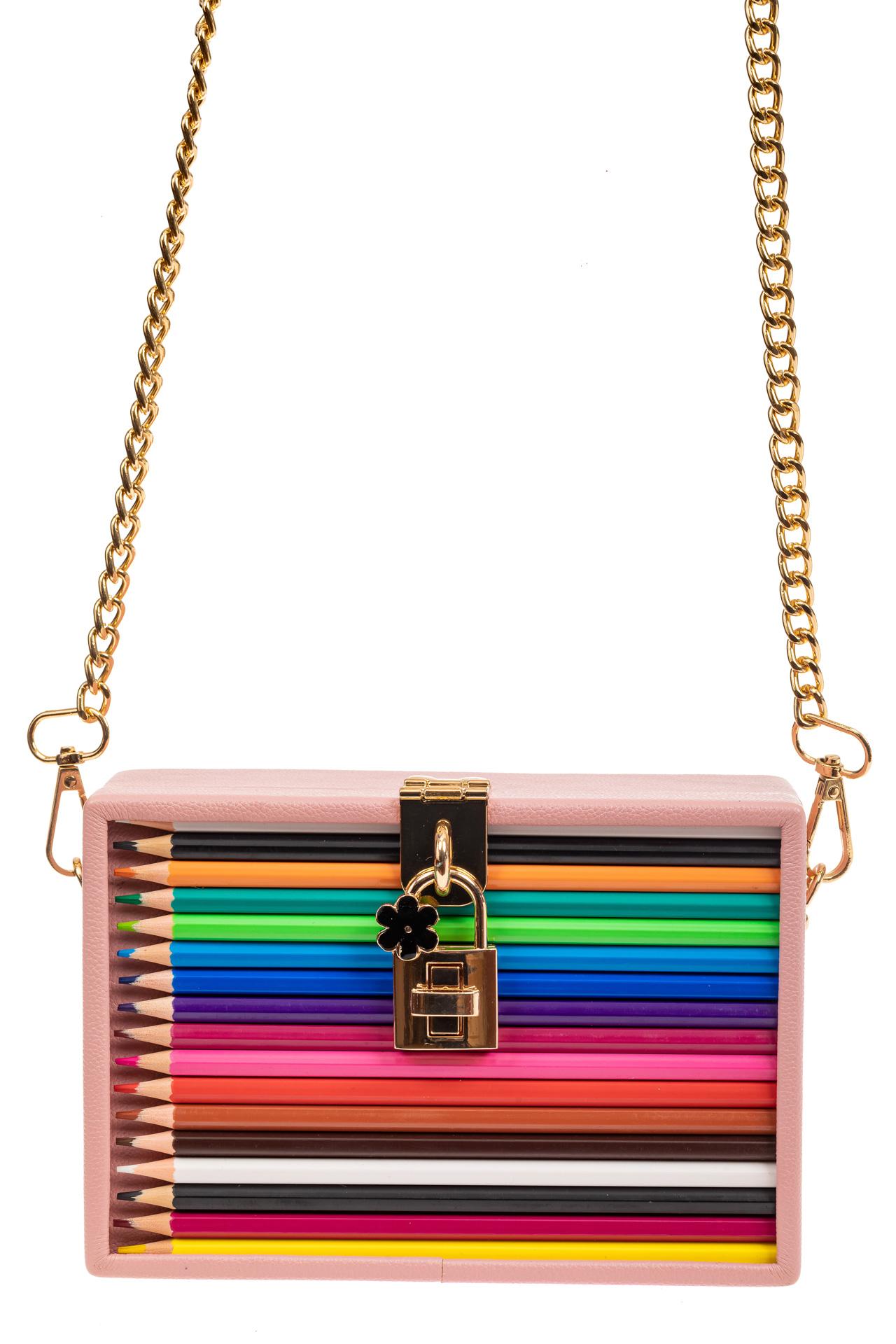 На фото 2 - Каркасная театральная сумочка из искусственной кожи, цвет розовый