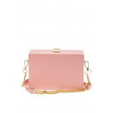 На фото 3 - Каркасная театральная сумочка из искусственной кожи, цвет розовый