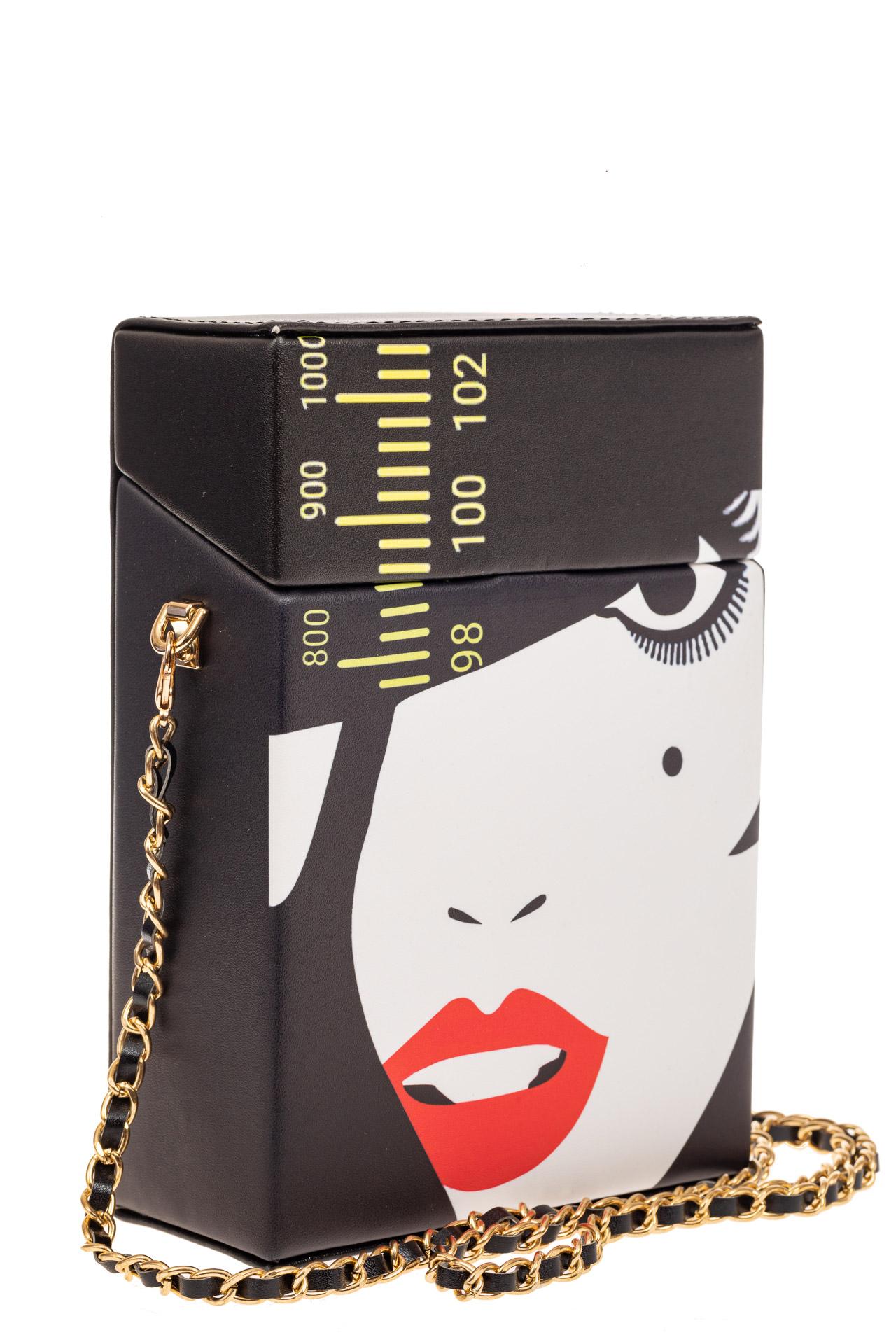 На фото 1 - Необычная каркасная сумочка из искусственной кожи, мультиколор, основной цвет черный