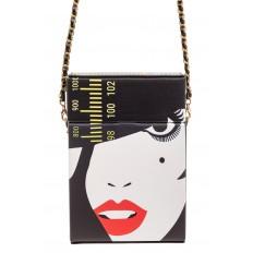 На фото 2 - Необычная каркасная сумочка из искусственной кожи, мультиколор, основной цвет черный