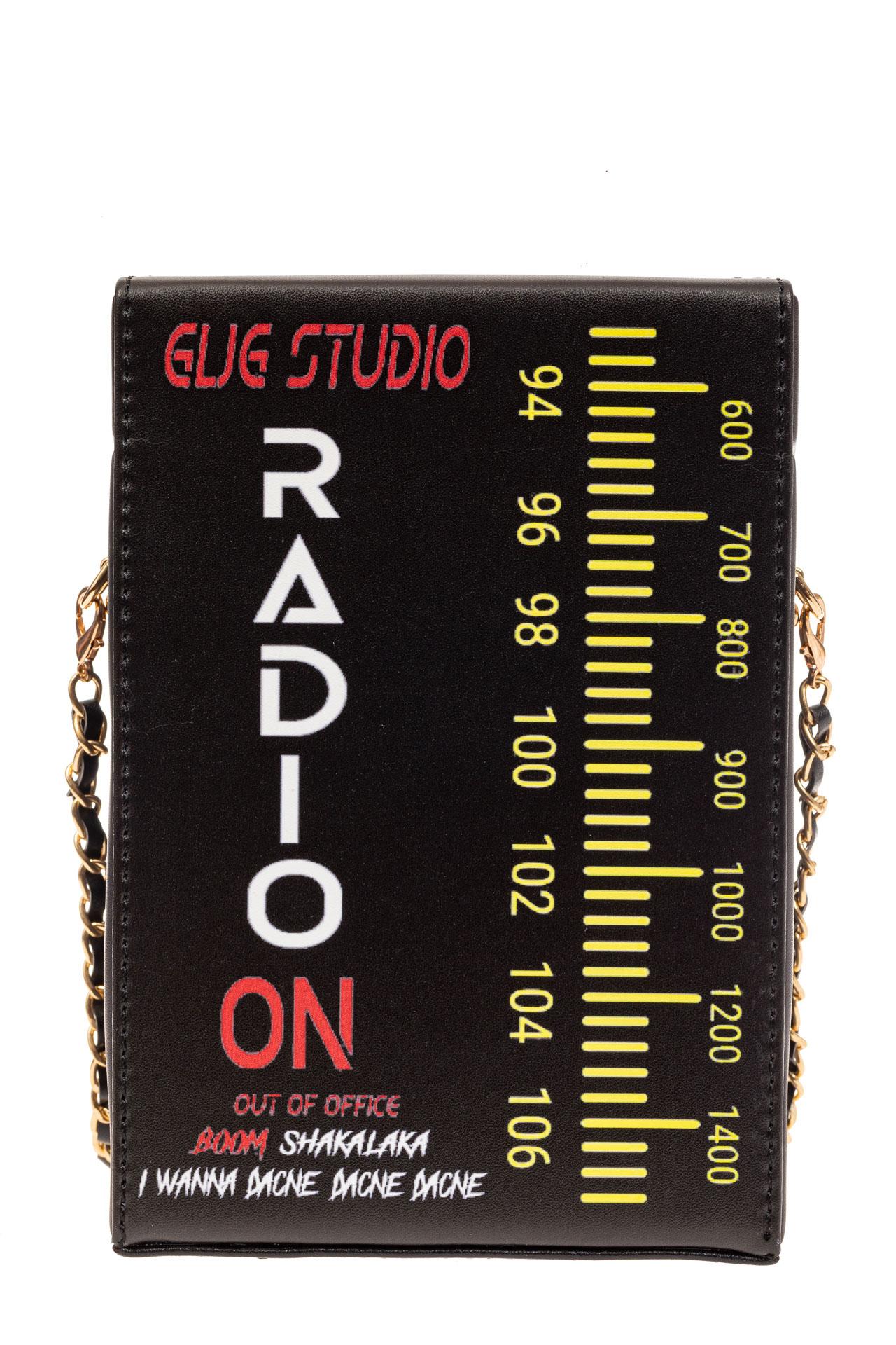 На фото 3 - Необычная каркасная сумочка из искусственной кожи, мультиколор, основной цвет черный