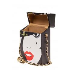 На фото 4 - Необычная каркасная сумочка из искусственной кожи, мультиколор, основной цвет черный