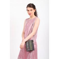 На фото 5 - Необычная каркасная сумочка из искусственной кожи, мультиколор, основной цвет черный