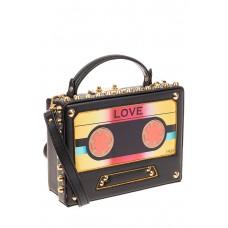 На фото 1 - Каркасная сумочка в стиле ретро из искусственной кожи, основной цвет черный
