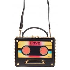 На фото 2 - Каркасная сумочка в стиле ретро из искусственной кожи, основной цвет черный