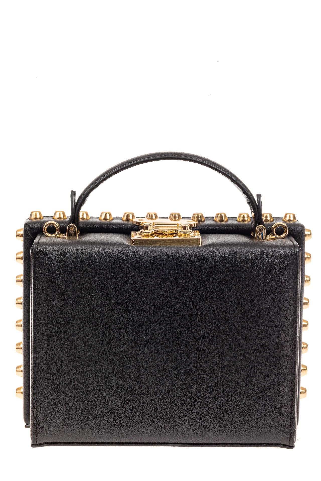 На фото 3 - Каркасная сумочка в стиле ретро из искусственной кожи, основной цвет черный