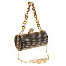 На фото 1 - Каркасная сумка с фермуаром в форме цилиндра, цвет черный