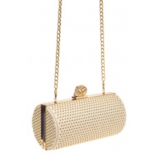 На фото 1 - Каркасная сумка с фермуаром в форме цилиндра, цвет молочный