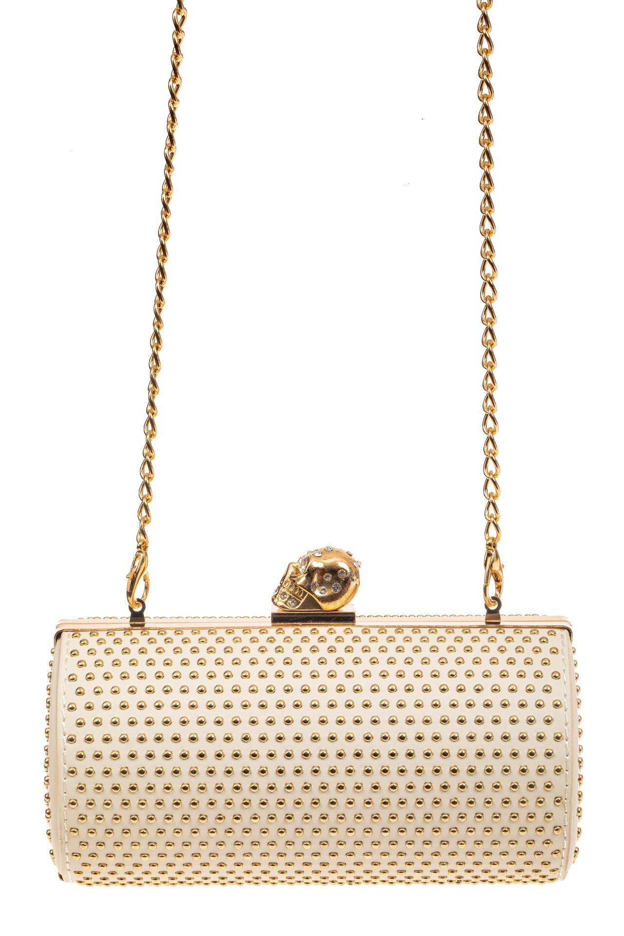 На фото 2 - Каркасная сумка с фермуаром в форме цилиндра, цвет молочный