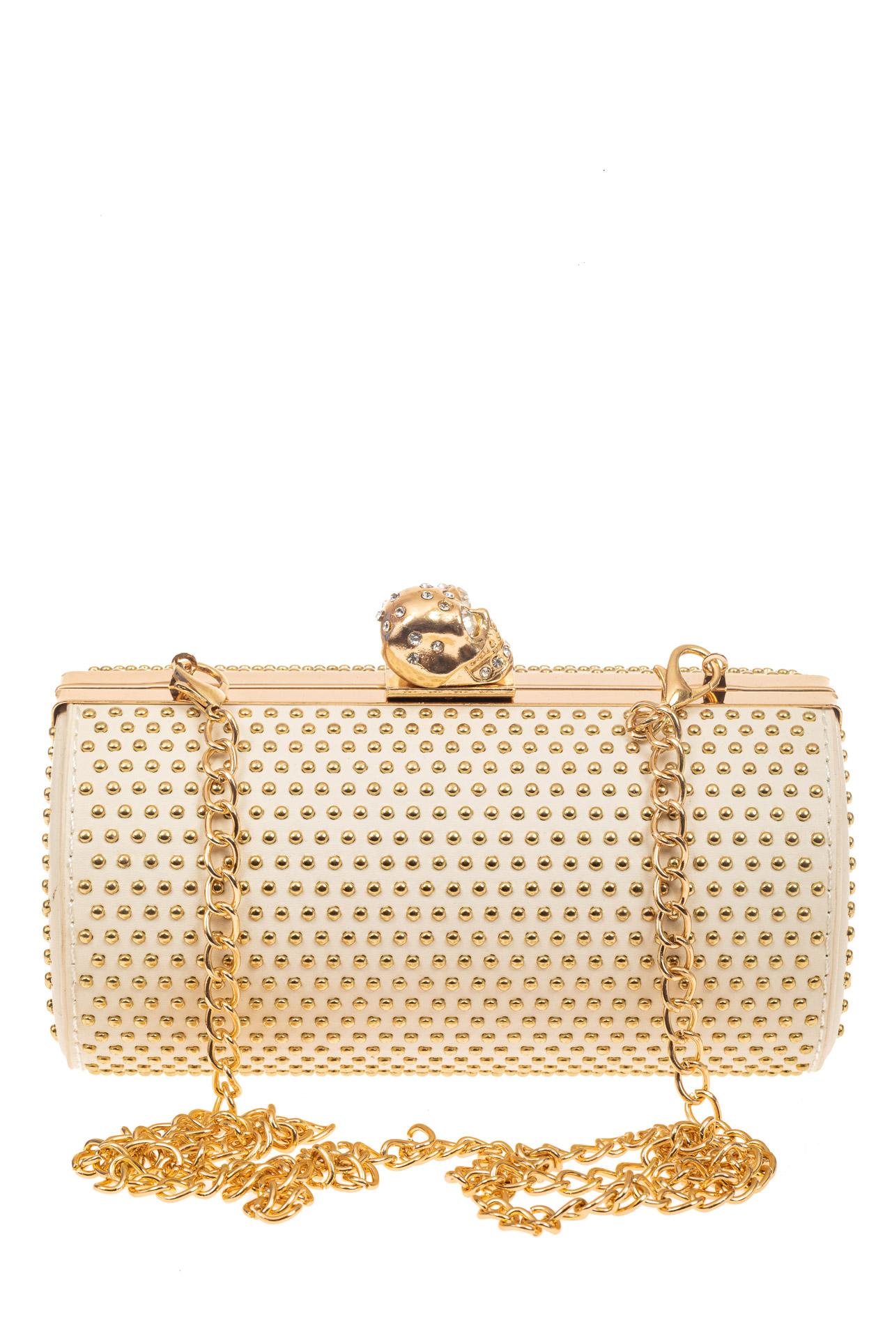 На фото 3 - Каркасная сумка с фермуаром в форме цилиндра, цвет молочный