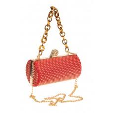 На фото 1 - Каркасная сумка с фермуаром в форме цилиндра, цвет красный