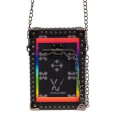 На фото 2 - Каркасная сумка-сундучок из искусственной кожи и текстиля, мультиколор, основной цвет черный