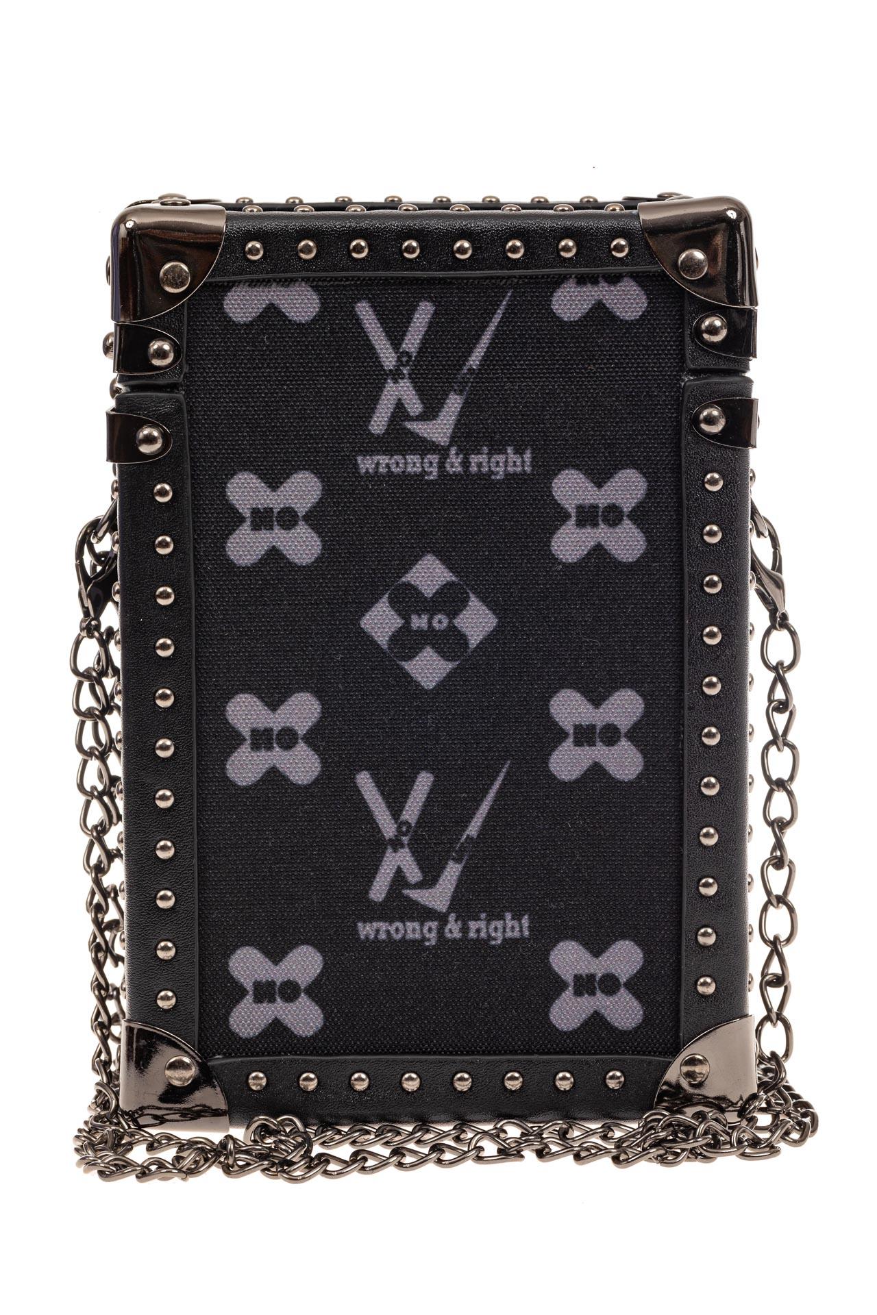 На фото 3 - Каркасная сумка-сундучок из искусственной кожи и текстиля, мультиколор, основной цвет черный