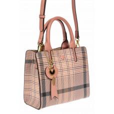 На фото 1 - Женская сумка тоут из искусственной кожи с принтом, цвет розовый