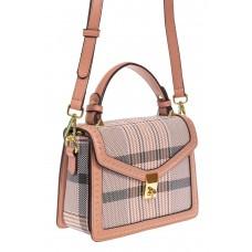 На фото 1 - Женская сумка сэтчел из искусственной кожи с принтом, цвет розовый