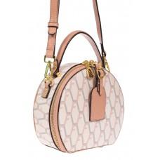 На фото 1 - Круглая женская сумочка из экокожи с принтом, цвет белый с розовым