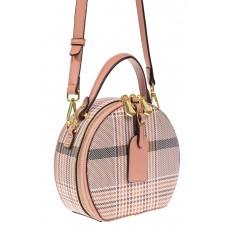 На фото 1 - Круглая женская сумочка из экокожи с принтом, цвет розовый