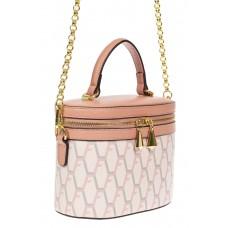 На фото 1 - Женская сумка-бочонок из искусственной кожи с принтом, цвет белый с розовым