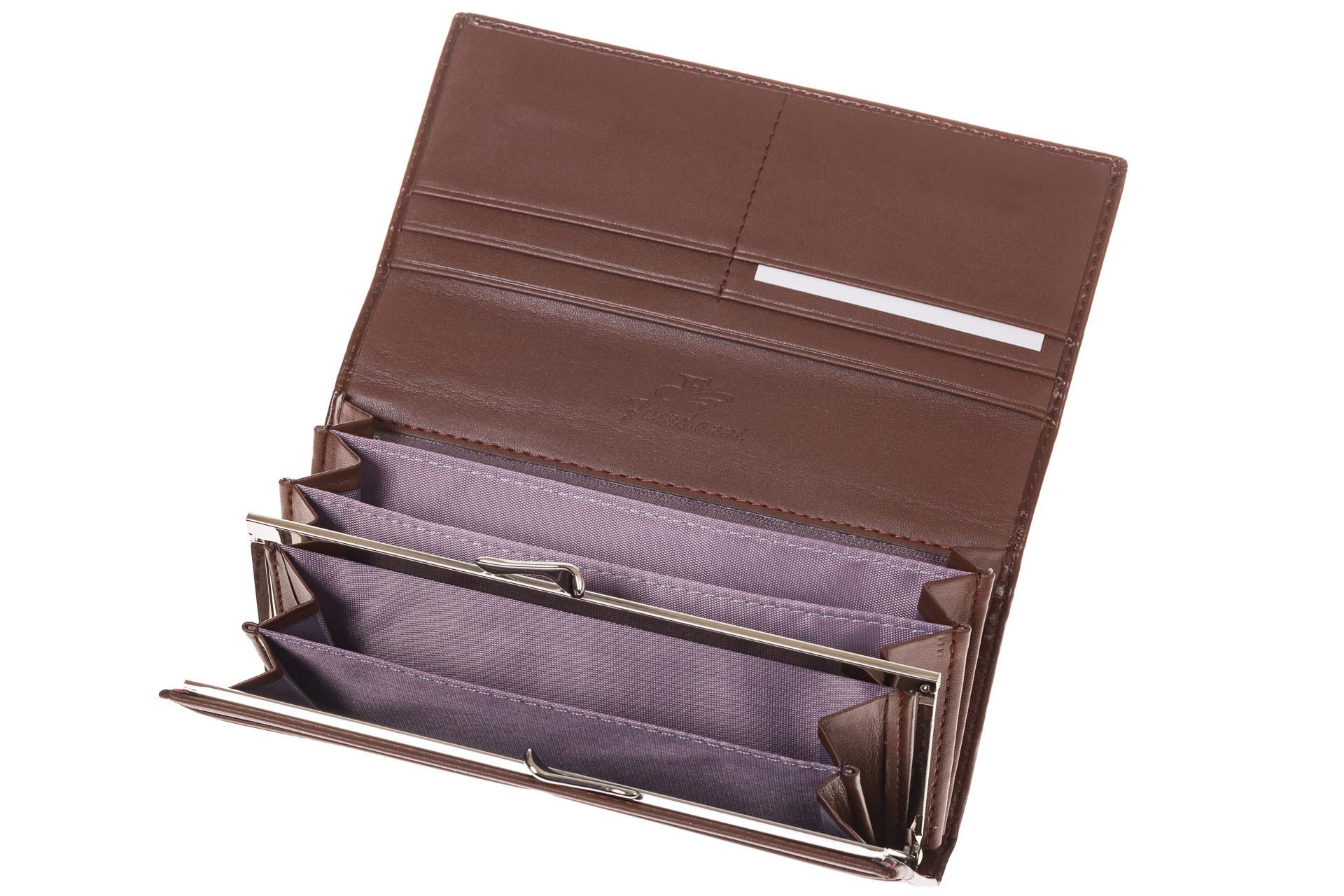 На фото 2 - Полноразмерное портмоне шоколадного цвета F8061