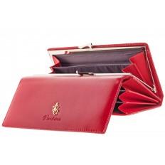 На фото 2 - Красное полноразмерное портмоне F8071