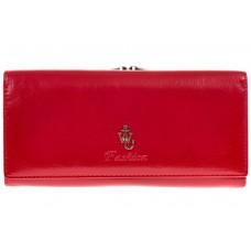 На фото 1 - Красное полноразмерное портмоне F8071