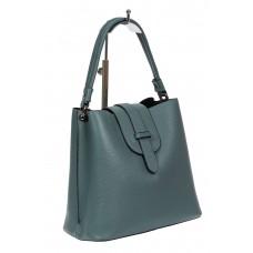 На фото 1 - Женская сумка-пакет из фактурной натуральной кожи, цвет бирюзовый