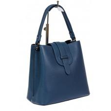 На фото 1 - Женская сумка-пакет из фактурной натуральной кожи, цвет синий