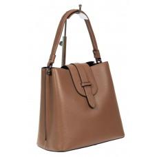 На фото 1 - Женская сумка-пакет из фактурной натуральной кожи, цвет светло-рыжий