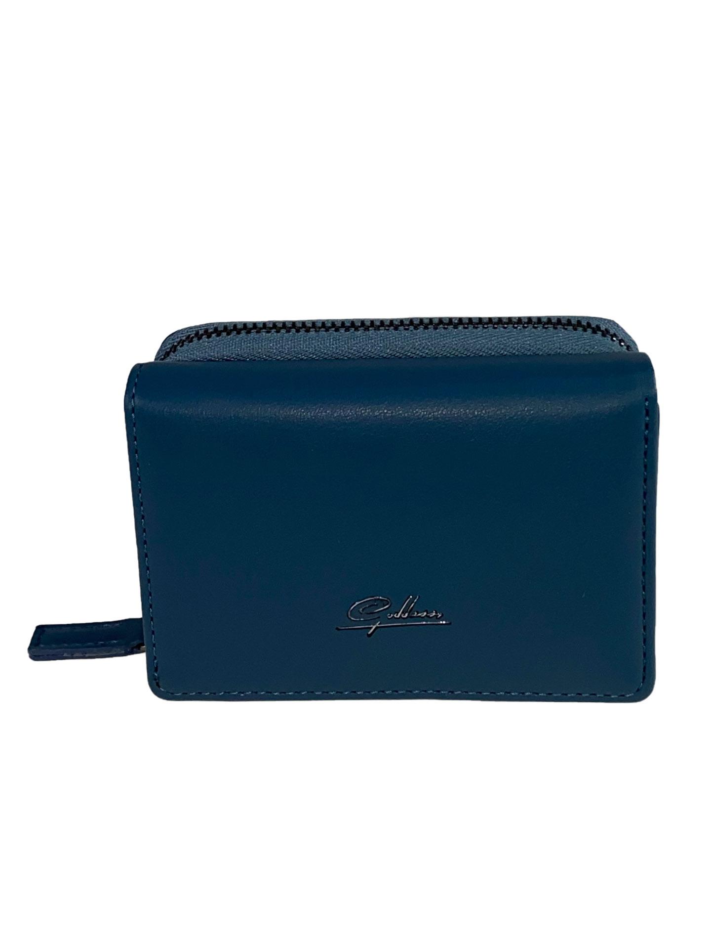 На фото 1 - Маленький женский кошелёк из искусственной кожи, цвет синий